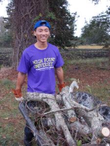 Gary Liang clearing debris in Swan Quarter, N.C.