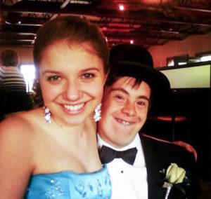 Jones and her good friend, Daniel Green, at their senior prom in high school