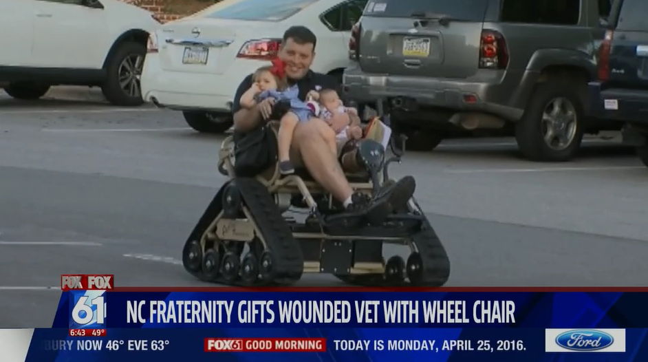 Veteran Michael Verardo Receives Track Chair From HPU Fraternity High Point