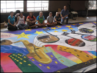 HPU Art Students Share Creative Skills To Create Mural For High Point's 150th Celebration
