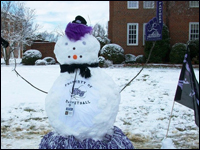 HPU Campus Blanketed By March Snow; Students Have Snowman Contest