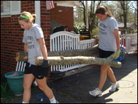 HPU Women's Soccer Team volunteers In Tornado Cleanup Effort
