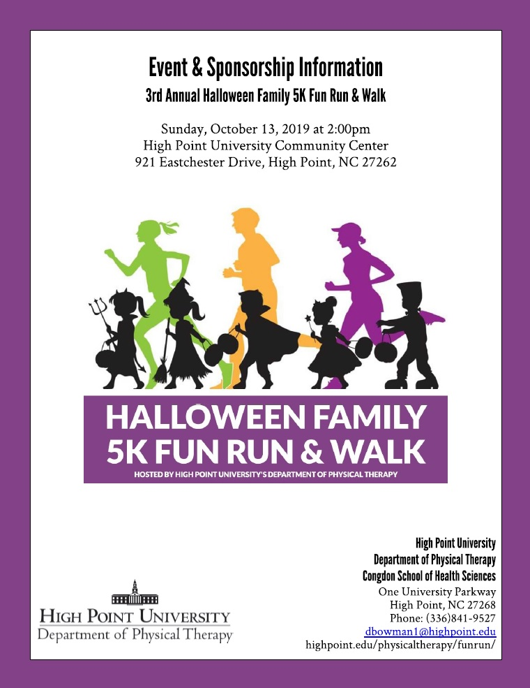 2020 Halloween Events Highpoint Nc Department of Physical Therapy's Annual Halloween Family 5K Fun