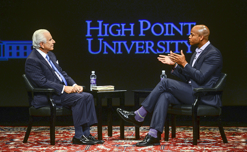 """Wes Moore, decorated U.S. officer, political analyst, entrepreneur and author of best-sellers """"The Other Wes Moore"""" and """"The Work"""", speaks with HPU president Nido Qubein."""