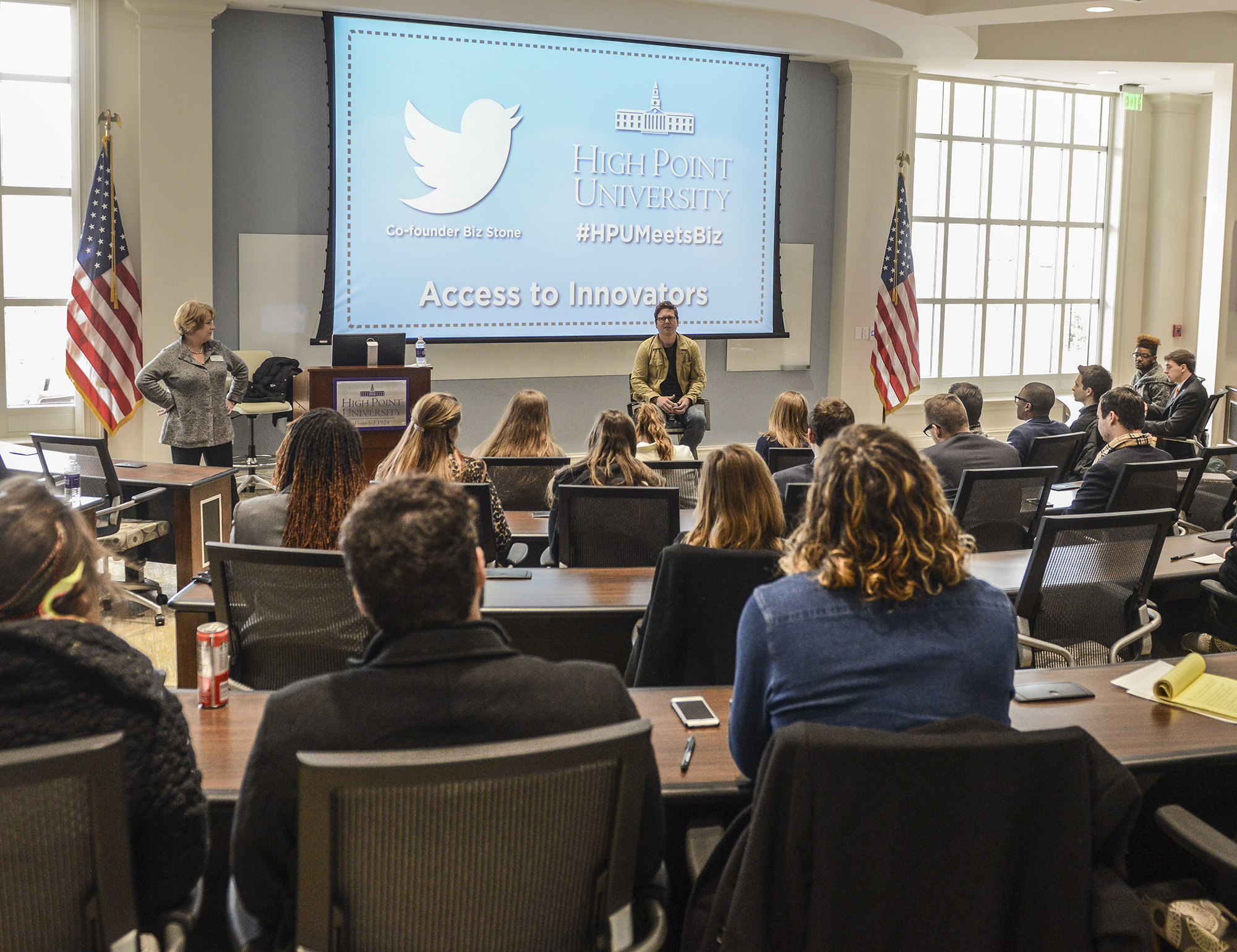 Stone spends time with communication and entrepreneurship students in Cottrell Hall.
