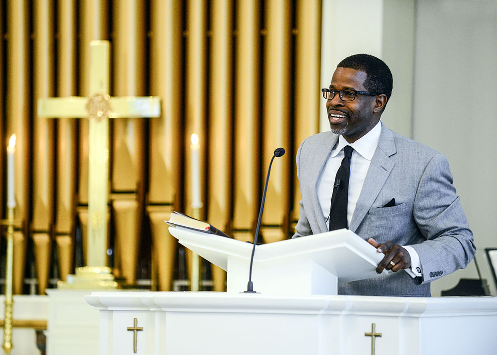 Rev. Prince Rivers, senior pastor of United Metropolitan Missionary Baptist Church in Winston-Salem, delivers the message at today's event.