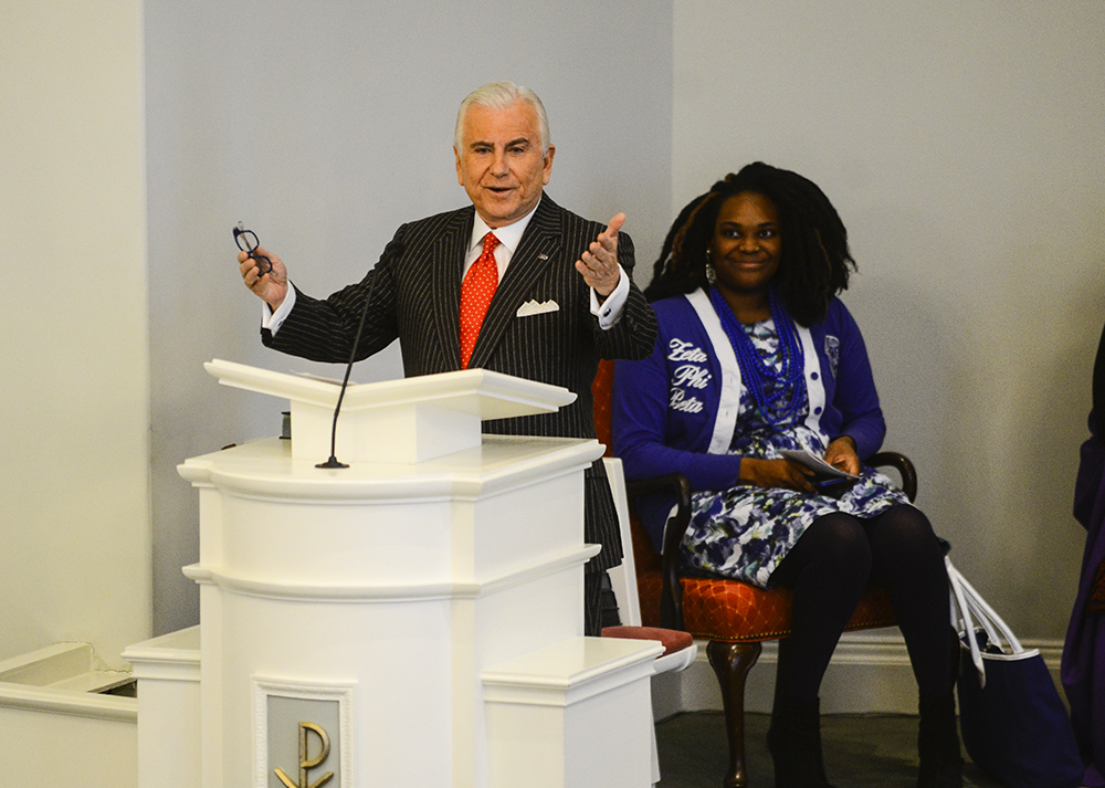 Dr. Nido Qubein, HPU president, welcomes guests to the annual Martin Luther King Jr. service.