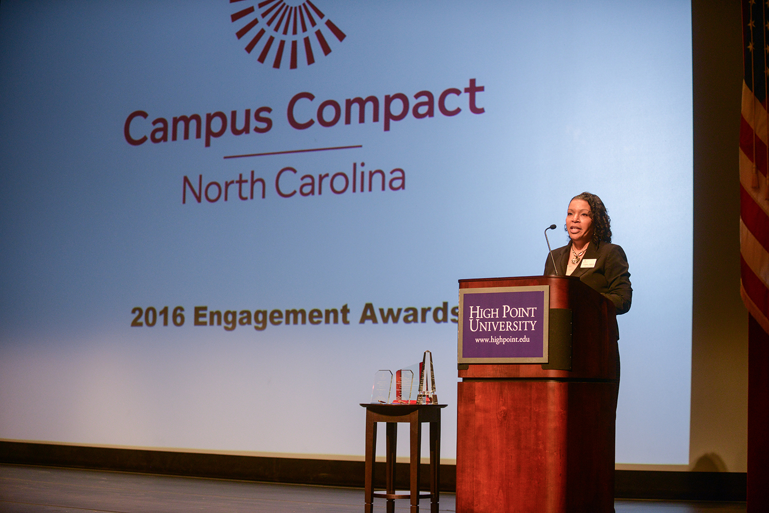 Leslie Garvin, executive director of the North Carolina Campus Compact, addressed the audience of nearly 400 college and university leaders.