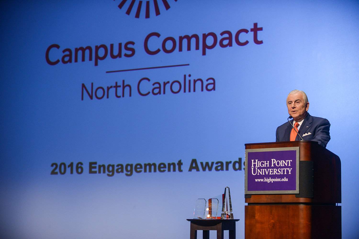 HPU President Dr. Nido Qubein hosted the Engagement Awards ceremony, held in the Hayworth Fine Arts Center.