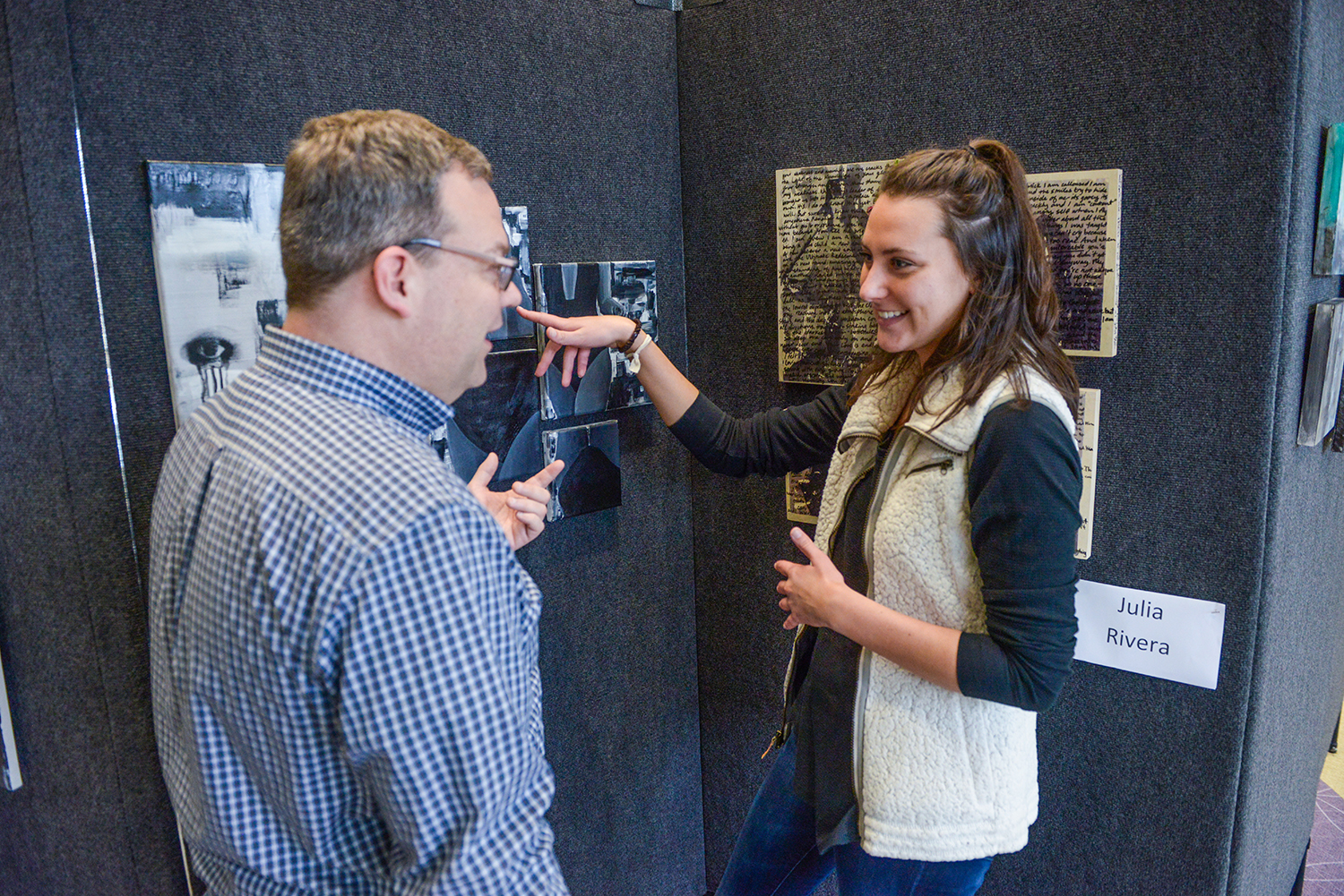 Allie Turner spoke with Scott Raynor, chair of the HPU art department, about her work in the senior studio pop up show.