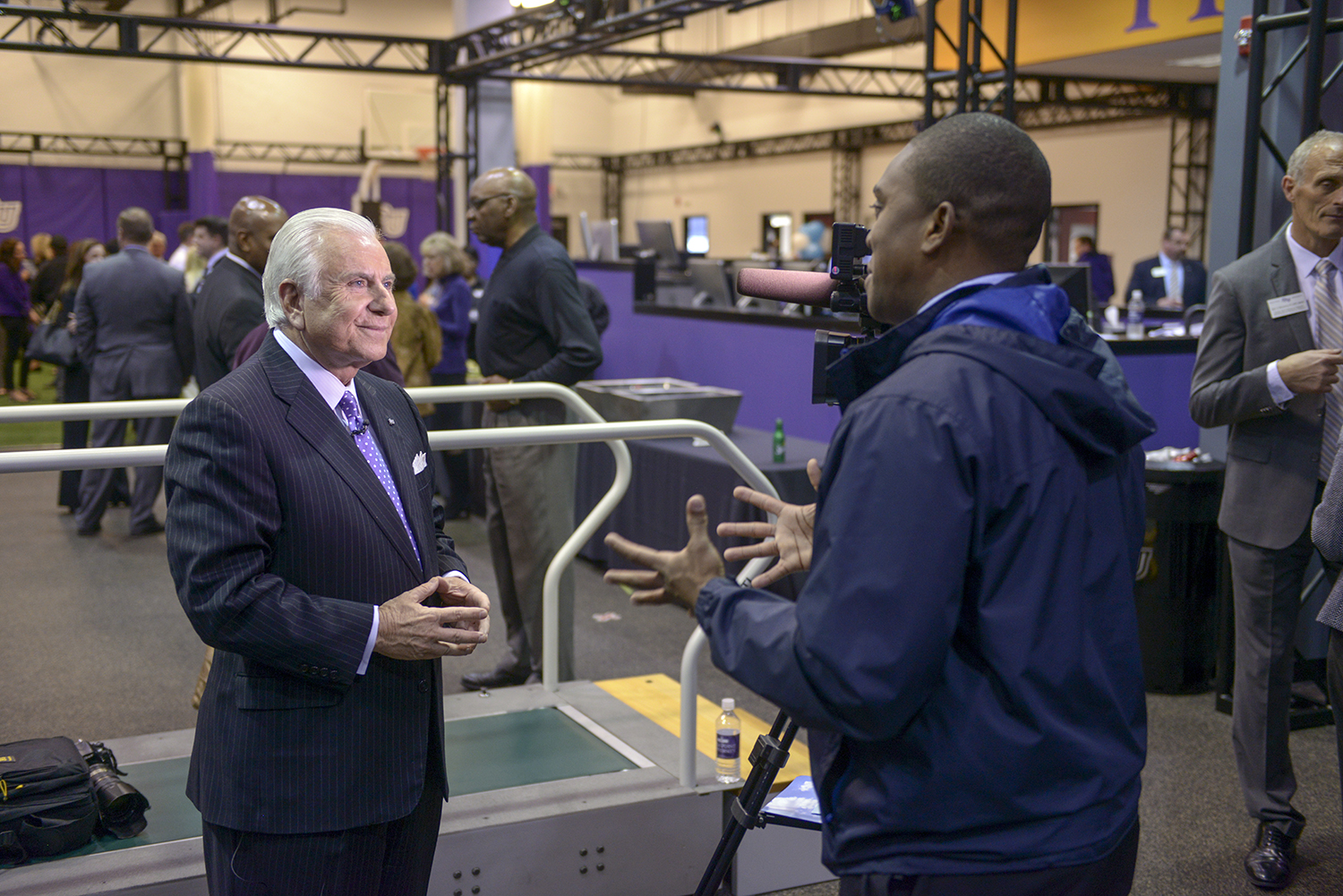 WFMY reporter Patrick Wright interviewed HPU president Dr. Nido Qubein during the partnership announcement with High Point Regional Health that will allow future HPU physical therapy students to provide pro bono services to the community.