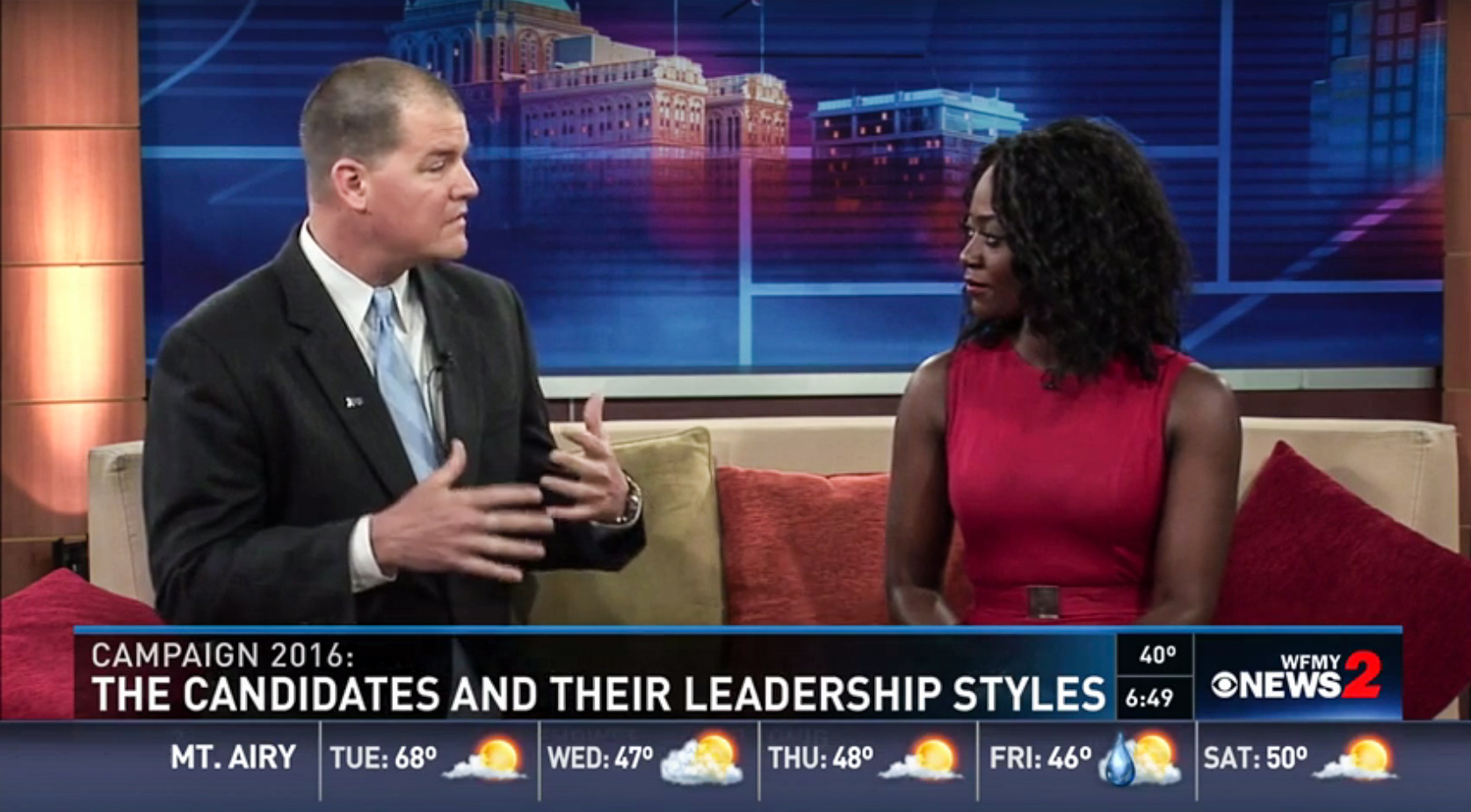 Dr. Tjai Nielsen, associate professor of management, discussed with WFMY anchor Faith Abubey the presidential candidates and what leadership qualities voters should look for.